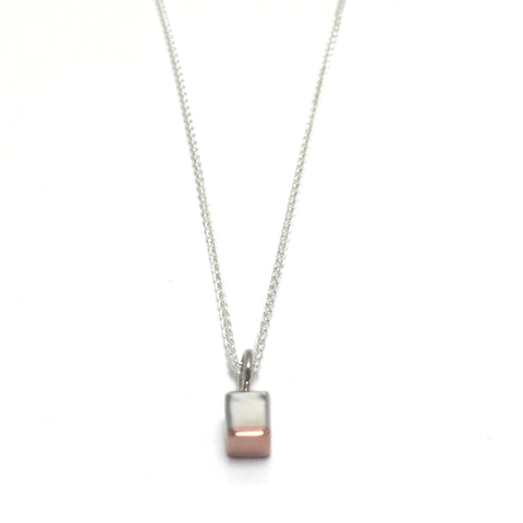 "Cube pendant on an 18"" wheat chain created in sterling silver and copper. 4mm x 4mm x 4mm"