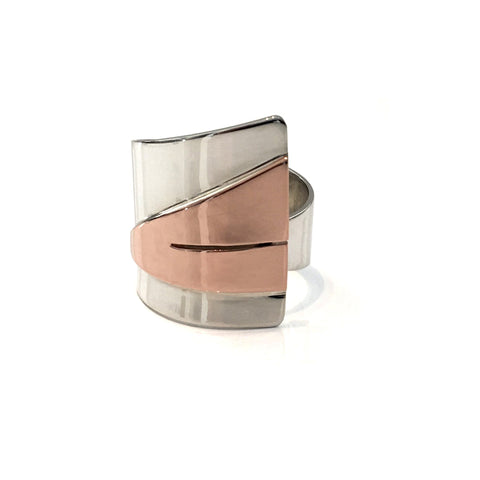 Adjustable triangle ring created in sterling silver and copper. 25mm