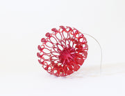 Unfurl 3 Brooch, hand crafted copper with red Powder Coat and a steel pin  7cm x 3 cm