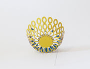 Unfurl 4 Brooch, hand crafted copper with blue and yellow Powder Coat and a steel pin  8cm x 3 cm