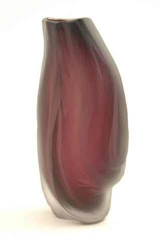 Carved Undula Vessel in plum   9 inches tall