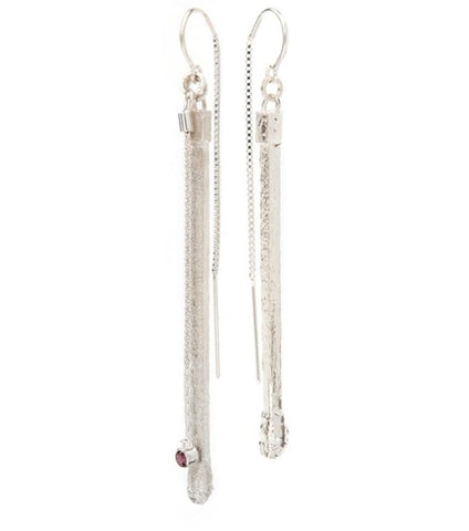 Dorothee Rosen Ignite! Drop Earrings in sterling silver cleverly re-create a wooden matchstick. Note: this pair does not have a stone.
