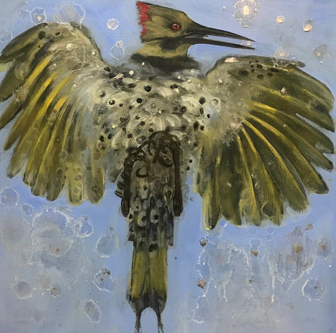 Flicker, Oil painting on canvas, 16 x 16 inches,