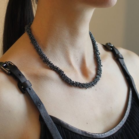 "The black sterling silver necklace pictured is 16""/42 cm  The ShikShok Series necklaces and bracelets can be of any desired length, and can be joined together to create a longer necklace when desired."