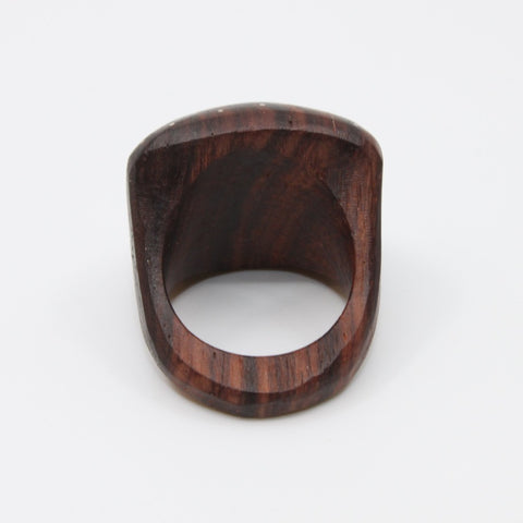 Rosewood ring with sterling silver inlay in various sizes 2.5 x 2.5 cm,
