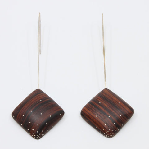 Rosewood Drop earrings with sterling silver inlay on sterling silver hooks, 8.5 x 3.5 cm.
