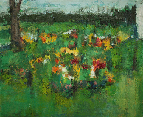 "Flower Garden, oil on panel, 9 x 11"" by Megan Hinton."