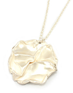 Fold, large round sterling silver pendant ( 45mm) on a 64cm chain .