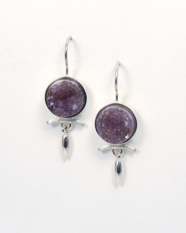 Sterling silver drop earrings with druzy amethysts.