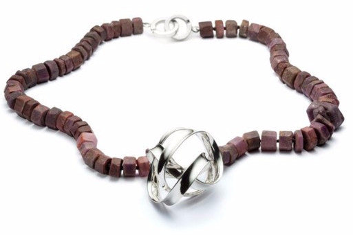 Necklace in rough-cut rubies and sterling silver, by Gustavo Estrada