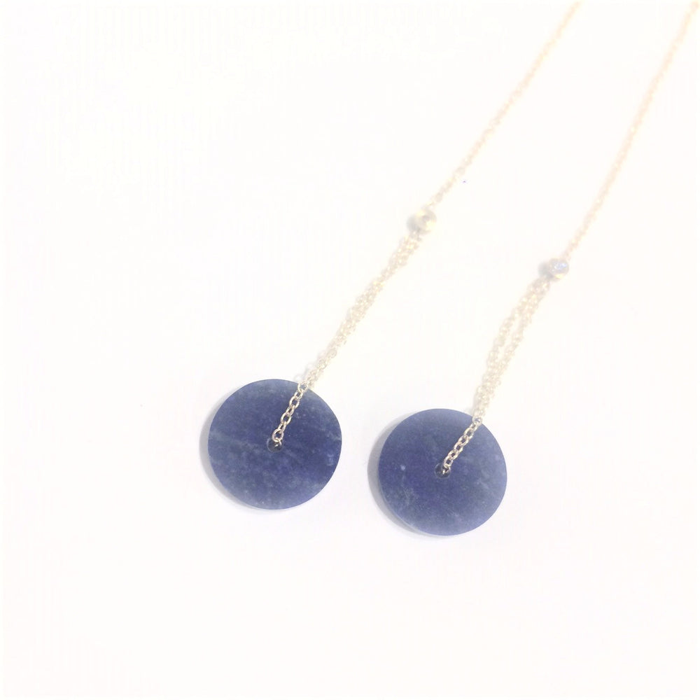 Lapis earrings with diamond detail and 18k gold.