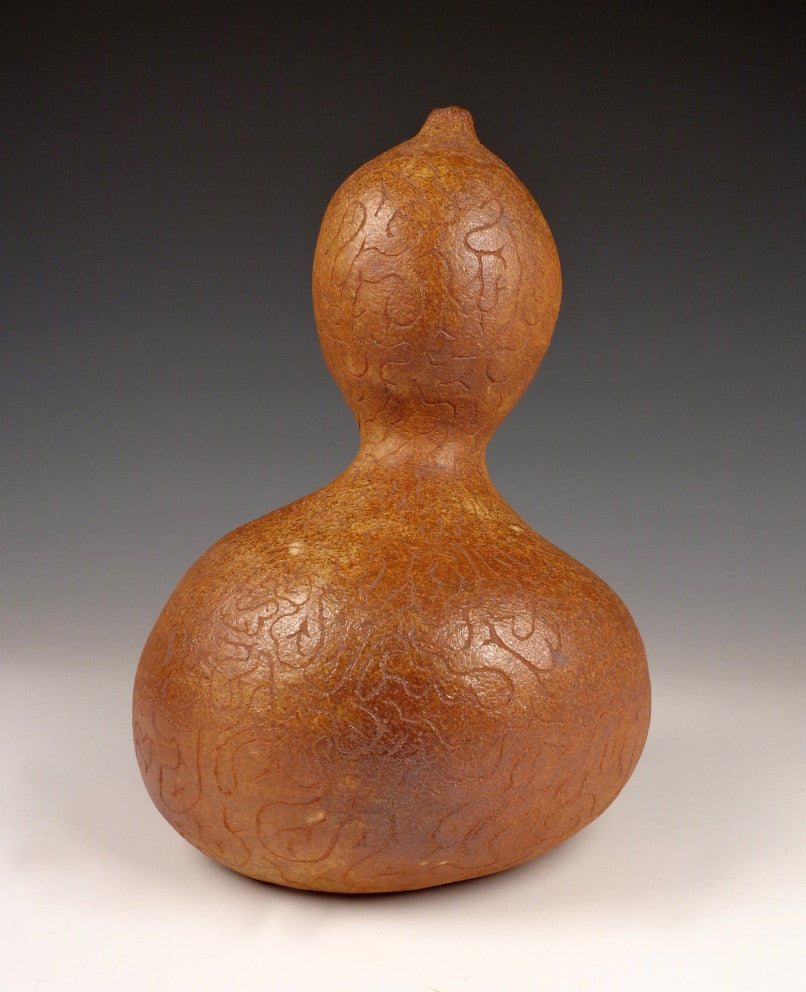 Gourd (Hulu) Series #7 2016  Stoneware, coil built and hand carved, wood fired to cone by Lin Xu.
