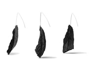 Black Pulp, Cut Series Earrings made from paper pulp, acrylic ink and sterling silver  8 x 3.5 x 1 cm