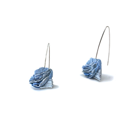 Blues, cirrus clouds drop earrings of pulp paper and acrylic ink on a sterling silver ear wire, 5.5 x 3 x 1 cm