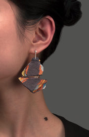 Slate Pulp Earrings are formed by layering multiple layers of pulp paper and acrylic ink. The posts are made from sterling silver. Very lightweight yet durable.   7x 4.5 x 0.5 cm