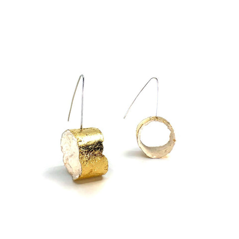 hoops created from sterling silver, paper pulp and gold leaf.