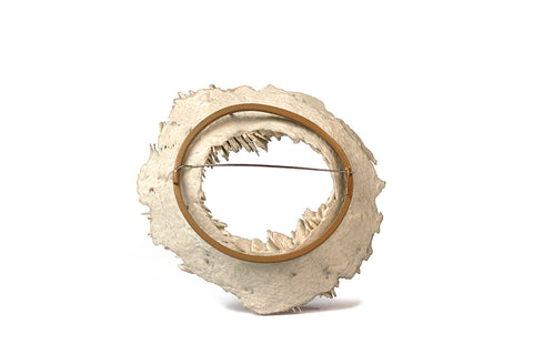 Fracture; Shale formation Brooch is formed by layering multiple layers of pulp paper and powder coat. The pin is made from copper. Very lightweight yet durable.   9.5 x 10.5 x 3.1 cm