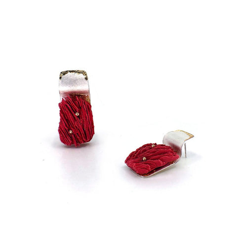 Silver & gold red pulp stud, created in sterling silver, 14k gold, paper pulp and acrylic ink.