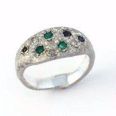 Prince ring in sterling silver with blue sapphires,green onyx and zircons by Alexandre Bergeron.