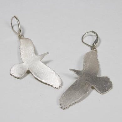 Raven. Large brushed sterling silver dangle earrings.