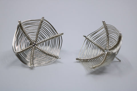 Stand Earrings made from Sterling silver Weaving  30mm in diameter