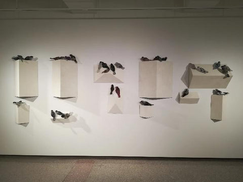 Installation of Gayle Buzzi's Nesting series - individual sets of birds sold separately
