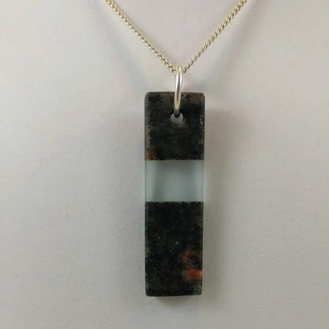 "Rock and glass pendant on 24"" sterling silver chain  0.50 x 2 x 0.25 inches"