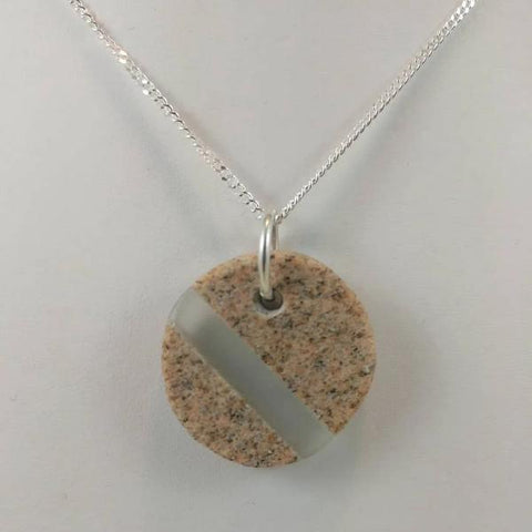 "Rock and glass pendant on 18"" sterling silver chain  1 x 1 x 0.25 inches"