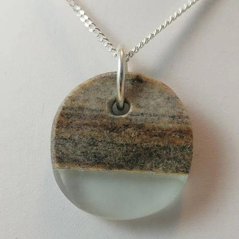 "Rock and glass pendant on 16"" sterling silver chain  1 x 1 x 0.25 inches"
