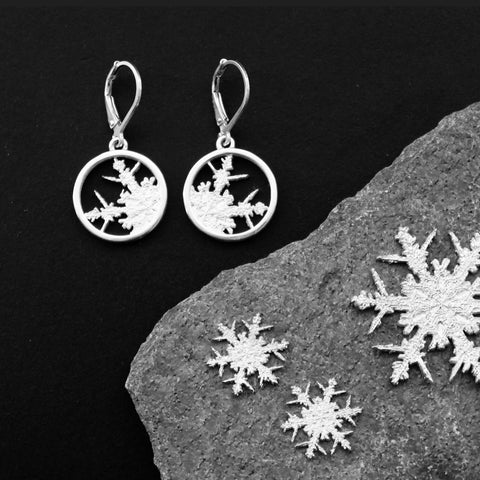 Crystalline Snowflake earrings in sterling silver.  The design is based on the earliest historical photographic images of a snowflake. 17 mm diameter