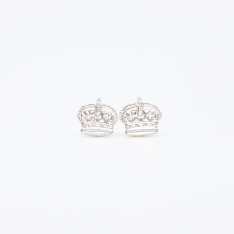 Tiny and precious crown stud earrings hand sawn from coins in silver with sterling silver findings.