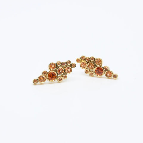 Orange Sapphire Earrings by Matthieu Cheminee
