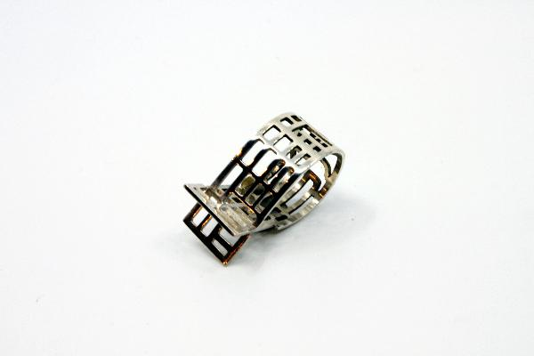 Gothic Ave., map ring, hand cut sterling silver.  Size 8, 1.5 cm