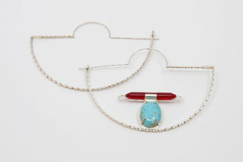 Hoop earrings.  Hand fabricated sterling silver, plexi glass, turquoise. 5 cm