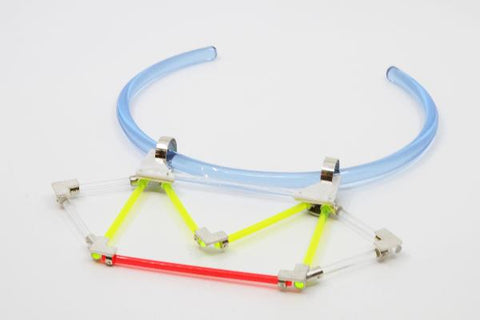 A Personal Geometry, neckpiece.  Hand fabricated sterling silver, neon acrylic, mother of pearl.
