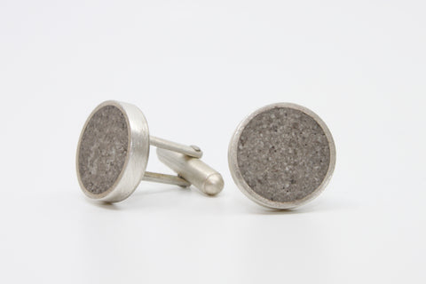 Concrete cufflinks set in brushed sterling silver.