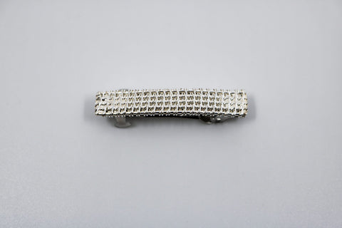 "Hand-woven sterling silver mini barrette.  1.5"" long"