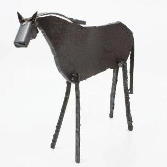 "Cheval, found metal sculpture  10.5 x 8 x 3"" approx."