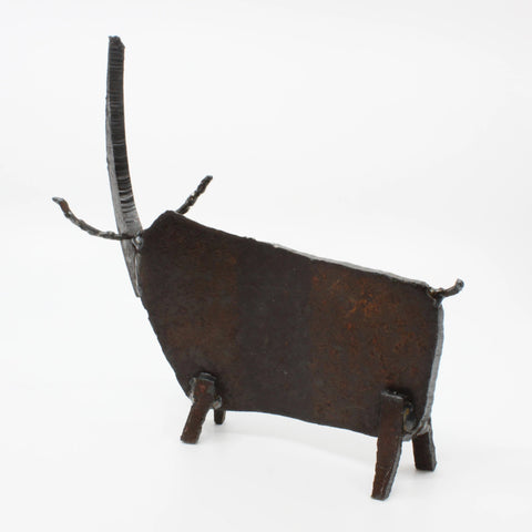 "Rhinotaurus, found metal sculpture  8.5 x 9 x 4"" approx."