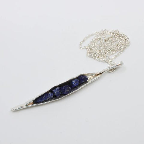 Rough lapis lazuli in sterling silver pea pod pendant on silver chain.  Pendant 3 x 5 inches with chain 24 inches long