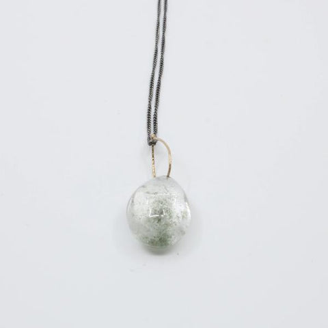 Moss crystal quartz drop in 10k yellow gold.  Pendant 1 x 0.75 inches with 24 inch silver chain