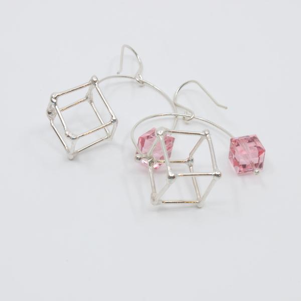 Sterling silver cube earrings with pink swarovski crystal.