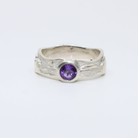 Amethyst landscape at night ring in polished sterling silver against the brushed sterling sky, size 7.5.