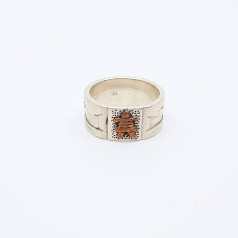 Inuksuk Lanscape, Sterling silver and copper ring