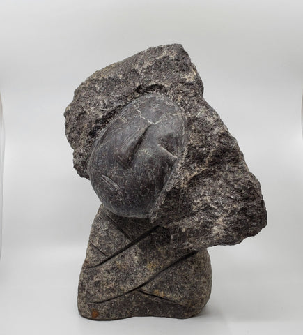 La Moue hand-sculpted One of a kind sculpture carved from granite from the Canadian Shield.  44 x 36 x 18 cm