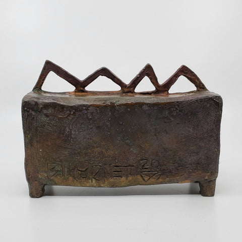 Sünde-Box-Skulptur in Bronze.  14 x 20 x 6 cm