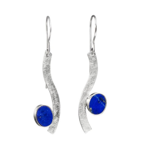 Lapis drop earrings in sterling silver, 5 x 1.5 cm