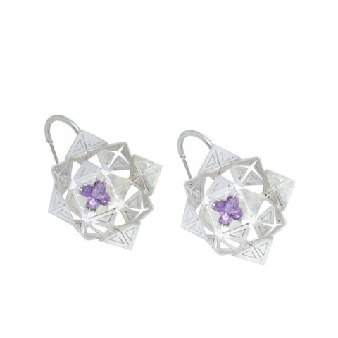 Lavender Quartz Flora Earrings.  The hand cut sterling silver delicately captures the pretty purple stones in the centre of each flower.  3 x 1 cm