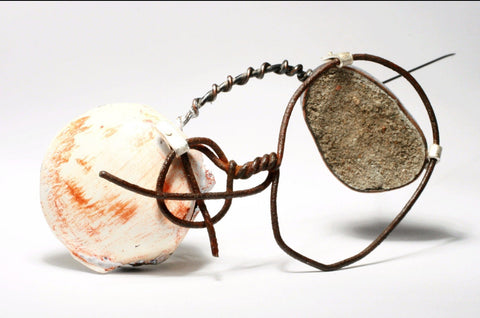 Cement and copper brooch by Meris Mosher
