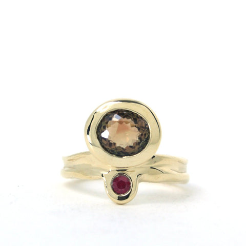 Annie Tung 14k yellow gold ring with bi-coloured tourmaline and ruby.